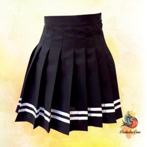 Falda negra lineas blancas