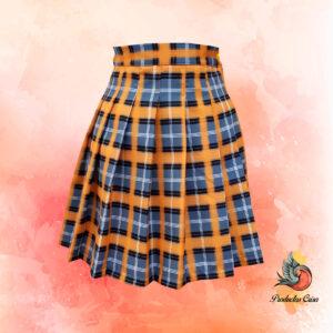 Falda escocesa naranja y gris